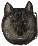 Wolf Head Belt Buckle with display stand. Code LE3